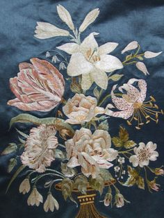 Beautiful Antique French Floral Embroidered Silk Panel Flowers