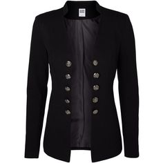 Long sleeved blazer. No closure with military buttons. Padded shoulders. Regular fit. Length: 60 cm in a size 36.