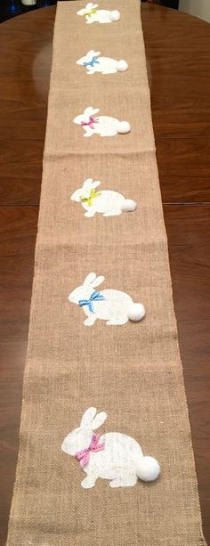 Bunny Burlap Table Runner Easter Burlap Table by CrazyCraftersFun
