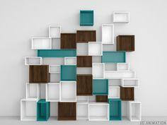 Système d'étagères stylisé en différents coloris