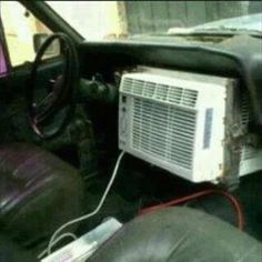 Redneck ac. omg this was too funny i feel like doing this to the jeep lol