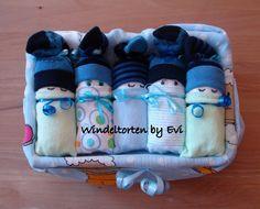Windelbabys in der Box,  Junge, Baby Geschenk Geburt Taufe, Windelbabies blau grün von BabyGiftsByEvi auf Etsy