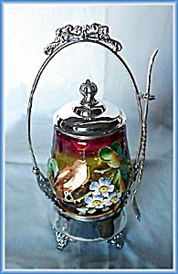 This is an all original enameled white pickle castor. Antique China, Antique Glass, Brides Basket, Condiment Sets, Pickle Jars, Fenton Glass, My Cup Of Tea, Chocolate Pots, Food Containers