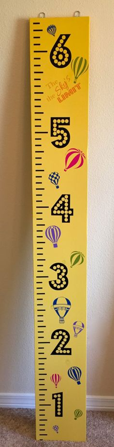 The Sky's is the Limit! Growth Chart Ruler, Measuring Board, Solid Wood Growth Chart. Hot Air Balloons - pinned by pin4etsy.com