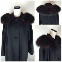 Vintage 1960s Lilli Ann Black Fur Swing Coat with Removable Burgundy Fox