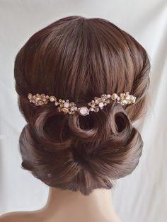 Pink Opaline Crystal Bridal Gold Headpiece  - Bridal Gold Crystal Hair Comb - Sparkling Gold Wedding Crystals Hair Ornament