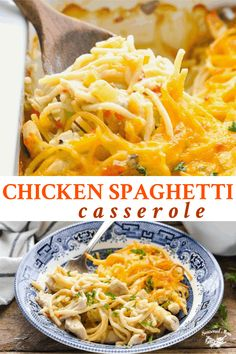 Chicken Spaghetti Casserole, Chicken Spaghetti Recipes, Chicken Pasta Bake, Pasta Recipes, Chicken Recipes, Turkey Recipes, Yummy Recipes, Healthy Recipes, Whole Wheat Spaghetti
