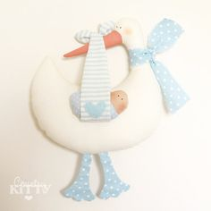 Stork softie newborn decoration  Fiocco от CountrykittyHandmade