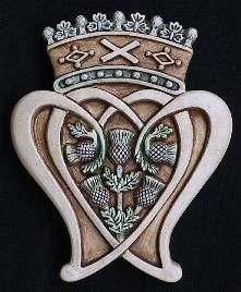 """Scottish Luckenbooth Emblem - Two hearts entwined and crowned is worn as a symbol of love and troth in Scotland.  They were once sold by the """"locked booth"""" merchants of Edinburgh, and Mary Queen of Scots is said t have given one designed with her monogram within the hearts to Lord Darnley as a betrothal present:  Historic Impressions"""