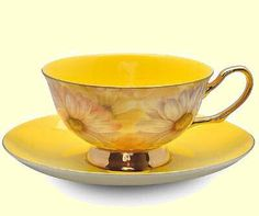 Yellow Satin Shelley Bone China Tea Cup in Gift Box
