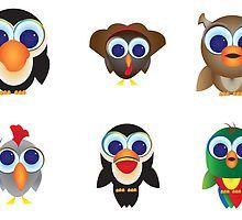 Big Eyed Buddies - Bird Edition by skrbly
