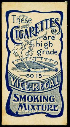 Cigarette Card Back - Vice-Regal