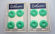 Vintage Costumemakers 8 Green Plastic Buttons on by FelicesFinds