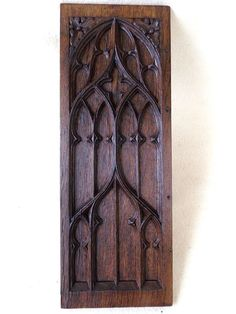 GOTHIC REVIVAL CHURCH TRACERY CARVED OAK PANEL in Antiques, Woodenware, Carved Figures/ Models | eBay