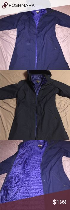 Patagonia women's M lash point parks raincoat blue This is treasure. Medium hardly worn you'll get it and swear it's new or super taken care of, it has a built in nano-puff-jacket-like coat for extra warmth with a button by the tag to connect them or separate them. Lots of pocket space in and outside as well as the mini puff jacket. Ask away Patagonia Jackets & Coats Trench Coats