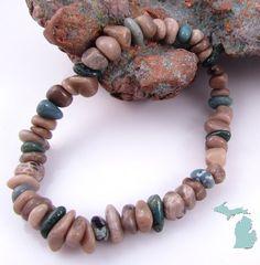 Petoskey stone and Leland bluestone chip stretchy bracelet by rwilberg