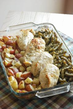 One Dish Chicken & Veggie Bake, super easy and the butter and Italian seasoning blend perfectly together and it's amazing on the potatoes