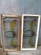 Original Vintage Stained Glass Leaded Light Windows In Original Wooden Frames