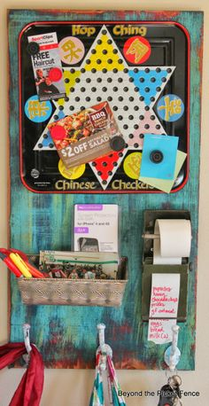 message center repurposed junk http://bec4-beyondthepicketfence.blogspot.com/2014/04/fun-junky-message-board.html