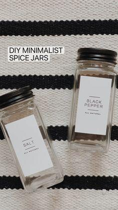 Pantry Shelving, Kitchen Organization Pantry, Home Organization, Organizing, Matte Black Spray Paint, Black Chalk Paint, Spice Labels, Spice Jars, Spice Shelf