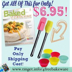 Who is a baker? This deal is back but now bigger and better get all of these items a set of 6 silicone cups Spatula brush and a set of Baked & Delicious magazines full of recipes for FREE just pay Shipping of $6.95!  Go To: http://tmget.info/4freebakeware  Want to see more Deals go Here follow the link in my Bio @Tomorrowsmom Or type in the direct link in your browser! for easy instructions and links #tomorrowsmom #cosmicmothers #feminineenergy #loa #organic #fitmom #health101 #conscience…