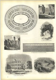 Engravings Ground Plan Of Colosseum In Rome