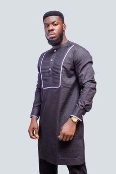 Front Pleated African Men Suit, African Men Clothing, African Mens Wear, African Wedding Men, Africa African Prom Suit, African Wear, African Dress, African Style, African Men Fashion, African Fashion Dresses, African Outfits, African Clothes, African Shirts