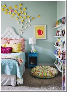 Mint wall color. white bed/shelves. throw in those darker tones to contrast