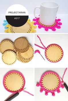 Crochet trim on wooden laser cut coasters. Tutorial with free laser cutting file. Crochet Home, Crochet Crafts, Crochet Projects, Free Crochet, Sewing Crafts, Crochet Trim, Fun Crafts, Diy And Crafts, Crafts For Kids
