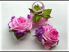 Простая резинка для волос с розой и мелкими цветами - YouTube