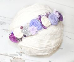 Majesty - dainty tieback crown halo in shades of lavender, purple, periwinkle, dusty purple, plum, cream, grey and a hint of silver (RTS) by SoTweetDesigns on Etsy