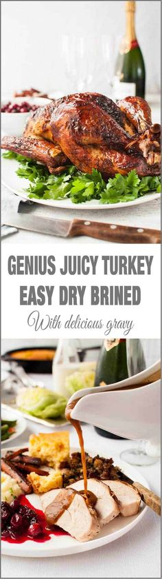 Genius Easy Juicy Roast Turkey (Dry Brined) - no bucket required, brine while turkey is defrosting AND the turkey is incredibly juicy! Far better than wet brining. Love turkey any time of year! Thanksgiving Recipes, Fall Recipes, Holiday Recipes, Great Recipes, Favorite Recipes, Thanksgiving Turkey, Party Recipes, Christmas Recipes, Recipe Ideas