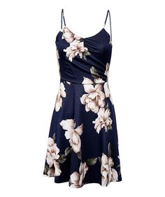 Love this Navy Floral A-Line Dress on #zulily! #zulilyfinds