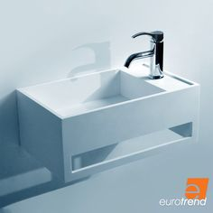 The EuroTrend Luv Rectangle Guest Bathroom Wall Hung Basin is a small and versatile basin ideal for small bathrooms, half-bathrooms, and guest bathrooms. Sink Countertop, Bathroom Countertops, Solid Surface, Bathroom Basin, Bathroom Wall, Wall Mounted Basins, Small Sink, Basin Design, Guest Bathrooms