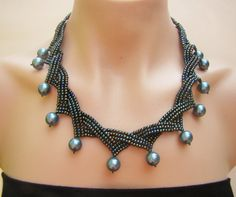 Seed beads necklace in blue green