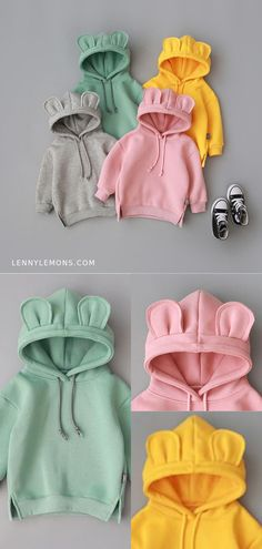 If youre cold you might as well be cute as can be in a sweatshirt top with ears <3 Cutest sweatshirt for girls and boys. Gray, green, yellow and pink sweatshirts. Lenny Lemons Collection #LennyLemons #sweatshirt #Fashionforkids #kidsfashion #hoodie