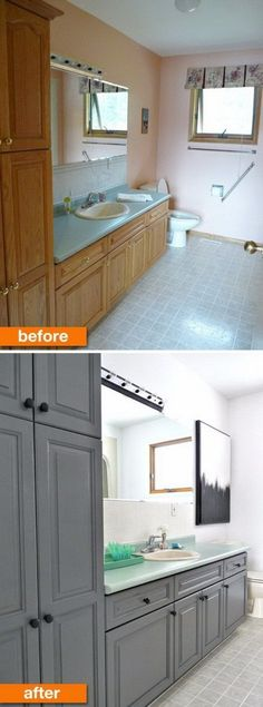 Painted Bathroom Cabinets Before And After how to paint cabinets