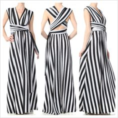 Restocked Black & White Stripe Crossback Maxi Dress in Brown Sugar Collection