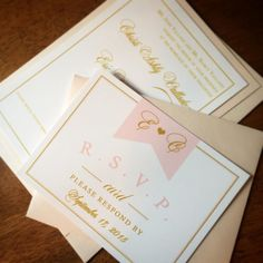 Blush Shimmer Wedding Invitation by Eleven Eleven Pixel, www.elevenelevenpixel.com