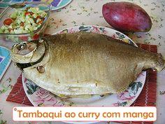 """Uma receita de tambaqui recheado com manga e o tempero indiano """"Curry"""". ----@---- A fish recipe """"Tambaqui"""" stuffed with mango and Indian spice """"Curry""""."""