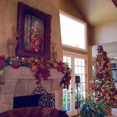 Christmas Room- Dressy Christmas Tree and Mantel all decked out in Rich colors of Christmas. #ChristmasTree, #ChristmasDecorations