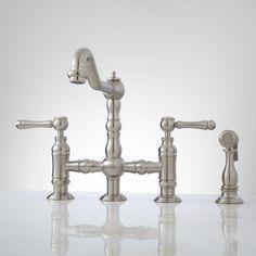 Bellevue Bridge Kitchen Faucet with Brass Sprayer - Lever Handles - Kitchen Faucets - Kitchen