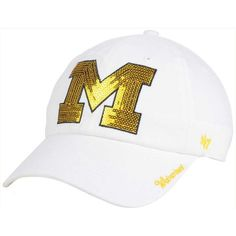 '47 Brand Women's Michigan Wolverines Sparkle Cap ($28) ❤ liked on Polyvore featuring accessories, hats, white, sports caps hats, sport caps, sports cap, logo cap and logo hats