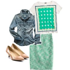 """""""J. Crew No. 2 Pencil Skirt in Clover Tweed and Pop Art Tee"""" by jcrewismyfavstore on Polyvore"""