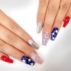 Summer Acrylic Nails, Cute Acrylic Nails, Acrylic Nail Designs, Nail Art Designs, July 4th Nails Designs, 4th Of July Nails, French Nails, Usa Nails, Patriotic Nails