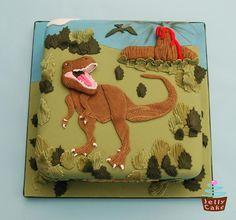 Dinosaur Cake Idea #4: Dinosaur Diorama Cake