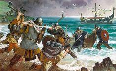 Irish warriors battle Viking raiders, 9th century AD