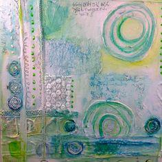 Collage 40 x40 cm gemalt auf einem 4 cm dicken Keilrahmen. Mischtechnik aus Acryl, Tusche, Kreide und Collagematerial. Die Seiten des