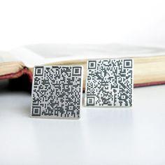 QR code sterling silver cufflinks by esmeweatherwax on Etsy