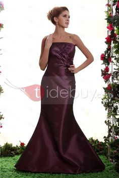 Graceful Ruched Trumpet/Mermaid Floor-Length BowknotStrapless Nastya's Bridesmaid Dress